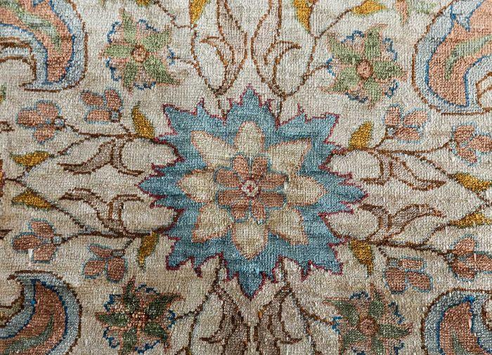 antique blue silk hand knotted Rug - CloseUp