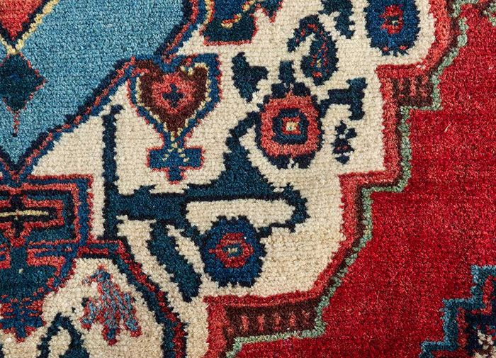 antique red and orange wool hand knotted Rug - CloseUp