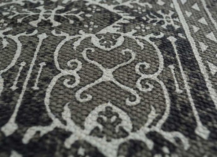 heritage grey and black cotton flat weaves Rug - CloseUp