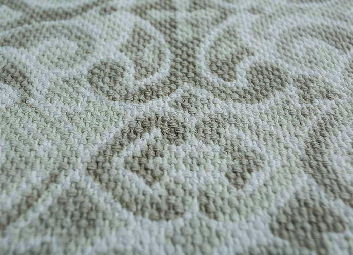heritage green cotton flat weaves Rug - CloseUp