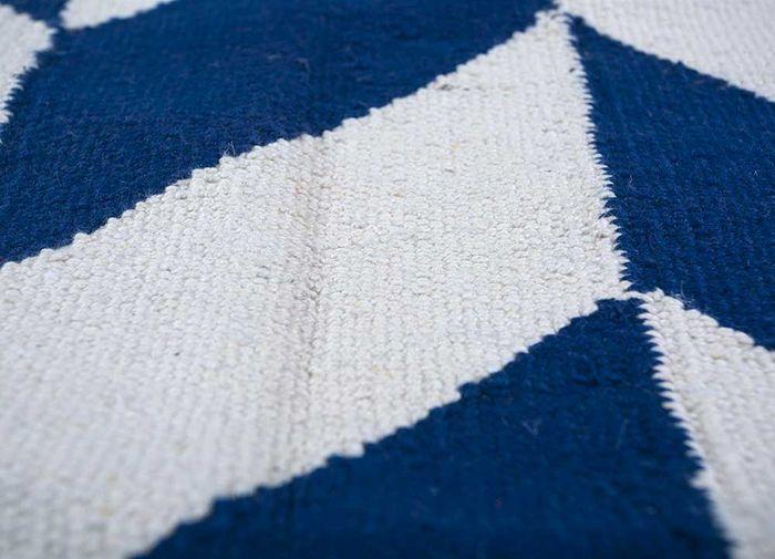 aqua blue cotton flat weaves Rug - CloseUp