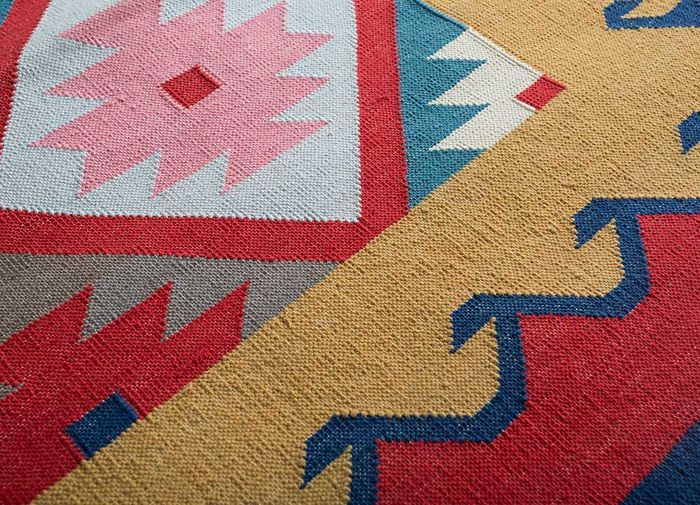 bedouin red and orange cotton flat weaves Rug - CloseUp