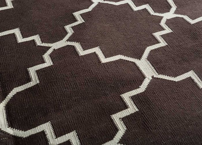 indusbar beige and brown cotton flat weaves Rug - CloseUp