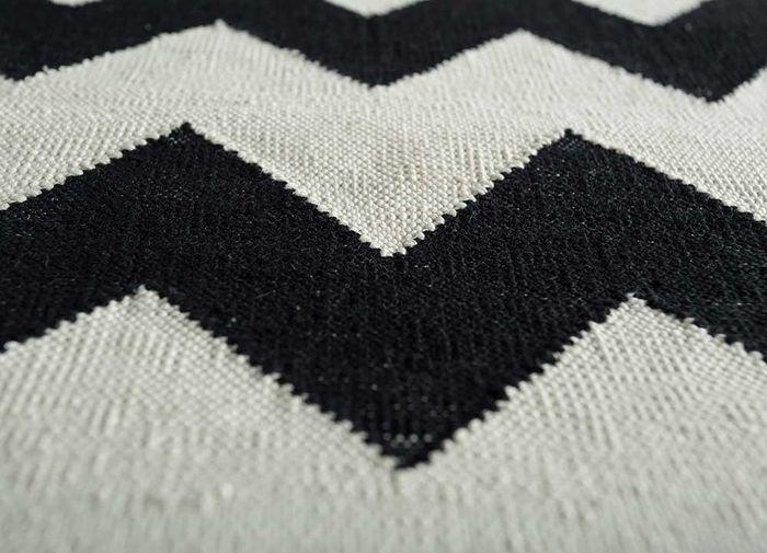 indusbar grey and black cotton flat weaves Rug - CloseUp