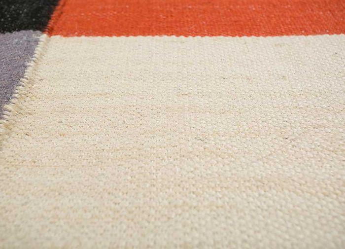 anatolia red and orange jute and hemp flat weaves Rug - CloseUp