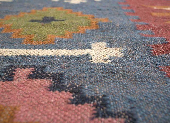 bedouin blue jute and hemp flat weaves Rug - CloseUp