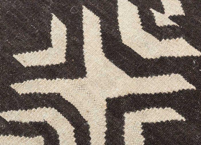 heritage beige and brown wool flat weaves Rug - CloseUp