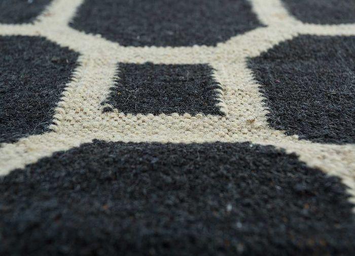 indusbar grey and black wool flat weaves Rug - CloseUp