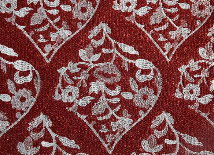 heritage red and orange wool and viscose flat weaves Rug - CloseUp