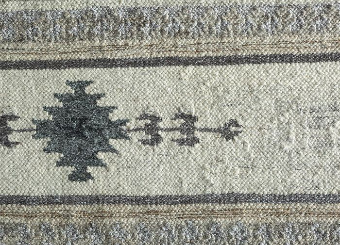 souk beige and brown wool and viscose flat weaves Rug - CloseUp
