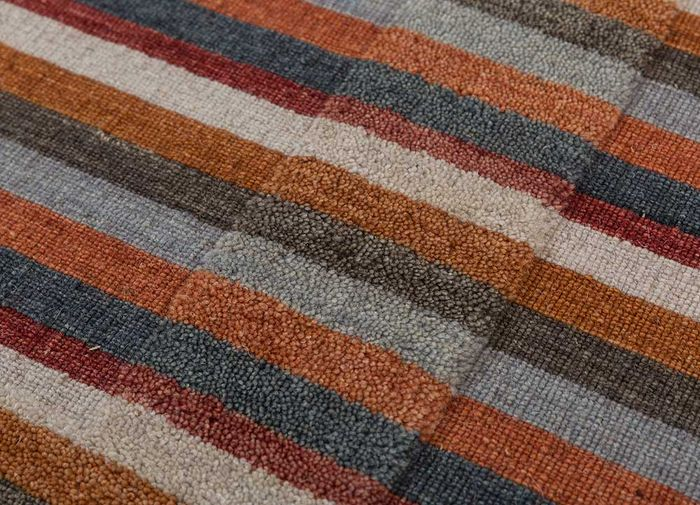 tesoro red and orange wool hand loom Rug - CloseUp