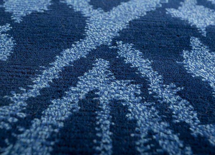 mezcla blue viscose hand knotted Rug - CloseUp