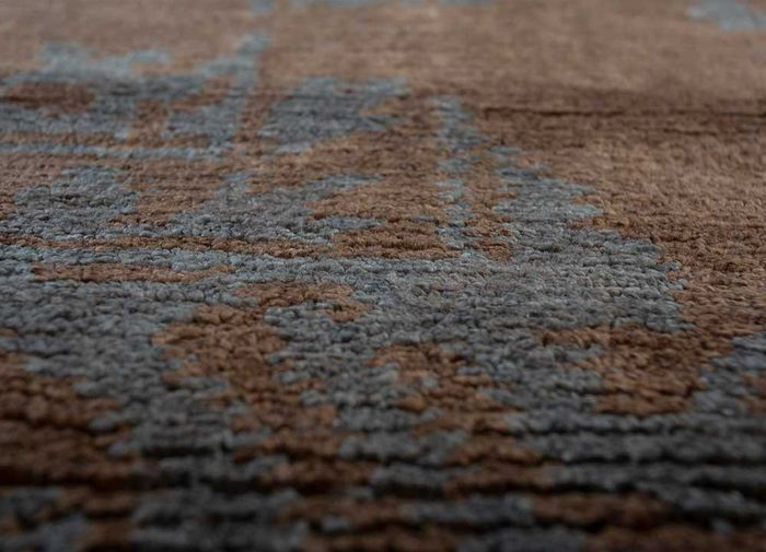 mezcla beige and brown viscose hand knotted Rug - CloseUp