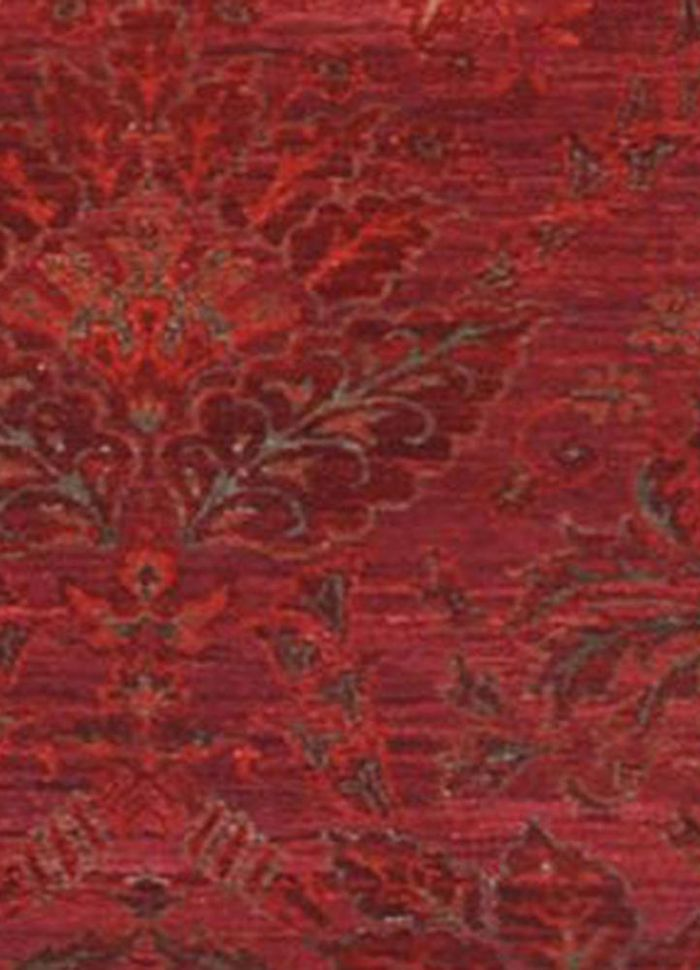 floret pink and purple wool and silk hand knotted Rug - CloseUp
