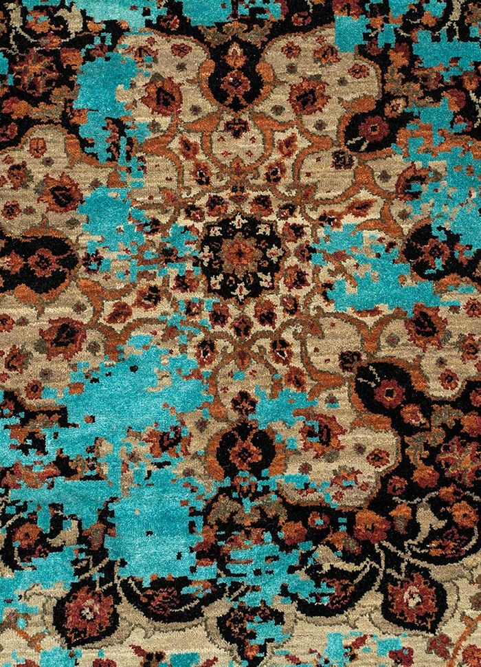 far east beige and brown wool and silk hand knotted Rug - CloseUp