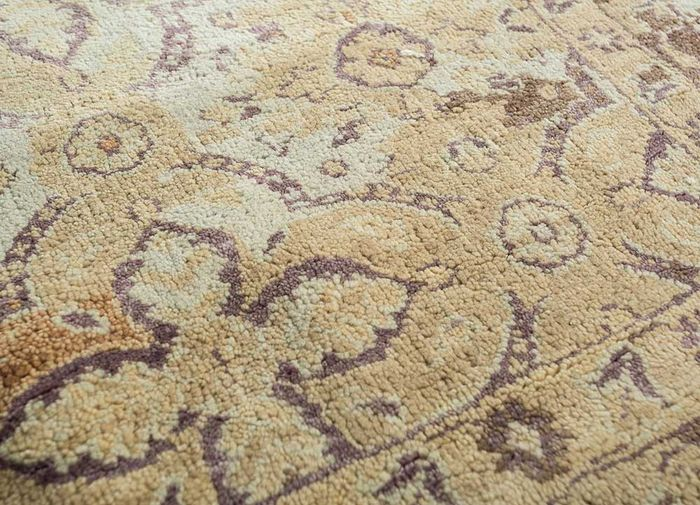 floret beige and brown wool and bamboo silk hand knotted Rug - CloseUp