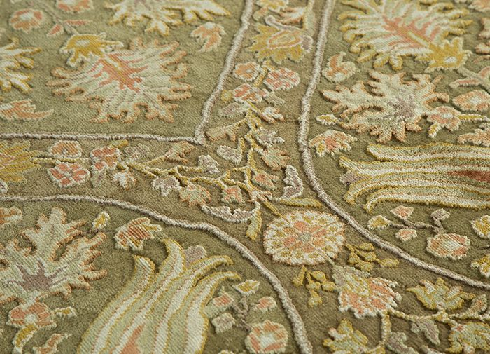 aurora green wool and silk hand knotted Rug - CloseUp