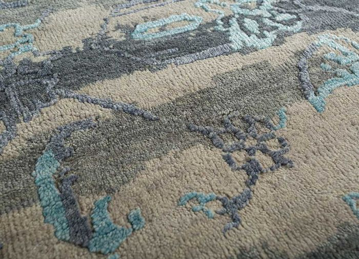 blithe blue wool and viscose hand knotted Rug - CloseUp