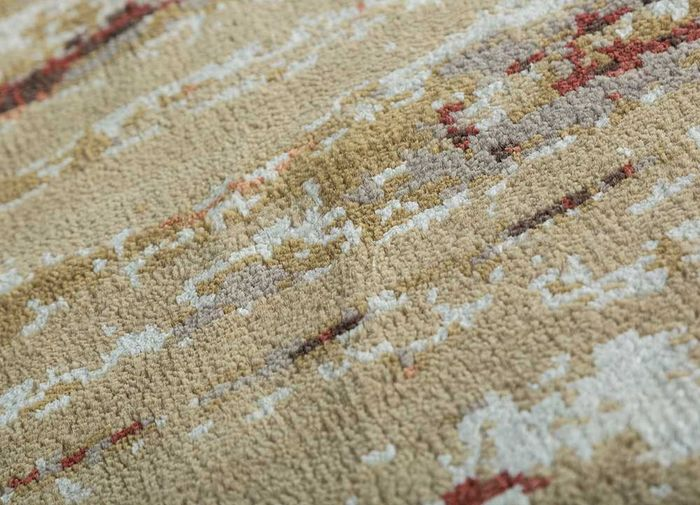 entropy gold wool and viscose hand knotted Rug - CloseUp