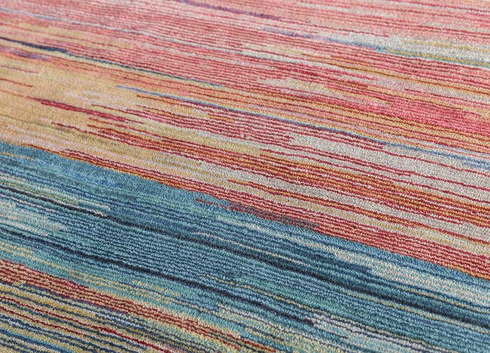 hidden by kavi blue wool and silk hand knotted Rug - CloseUp