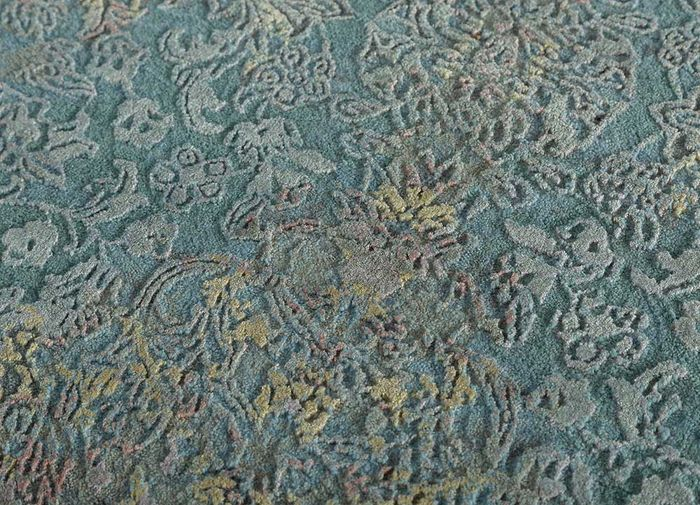 blithe blue wool and bamboo silk hand knotted Rug - CloseUp