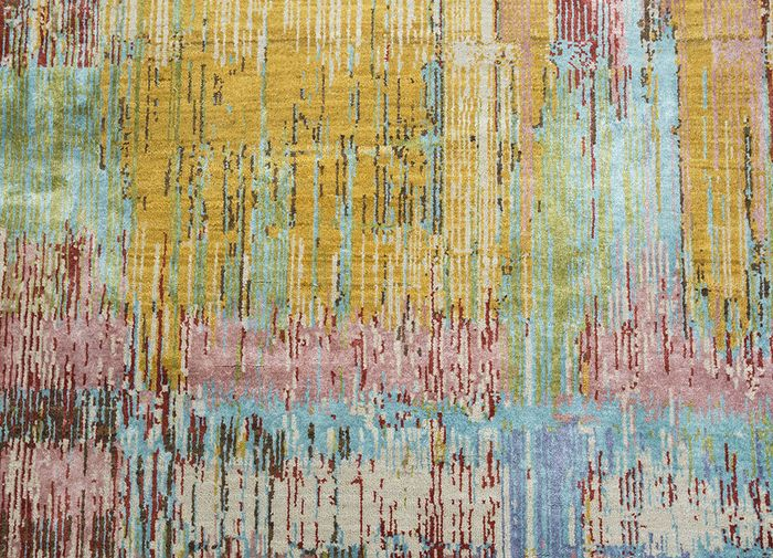 unstring by kavi gold wool and bamboo silk hand knotted Rug - CloseUp