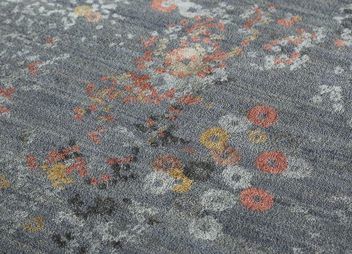 hidden by kavi grey and black wool and bamboo silk hand knotted Rug - CloseUp