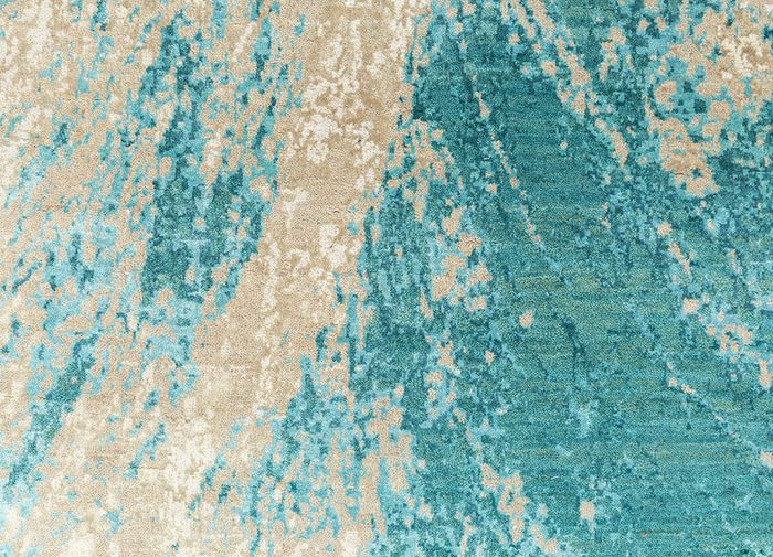 tattvam blue wool and bamboo silk hand knotted Rug - CloseUp