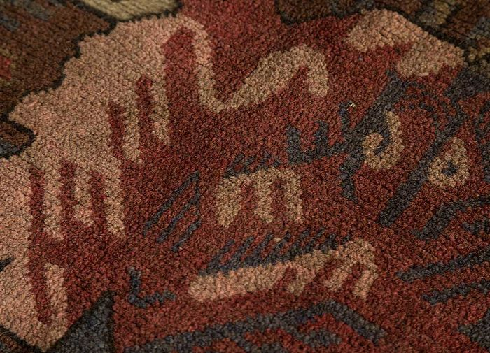 vintage beige and brown wool hand knotted Rug - CloseUp