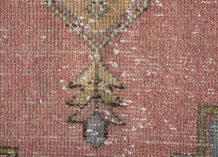 vintage pink and purple wool hand knotted Rug - CloseUp