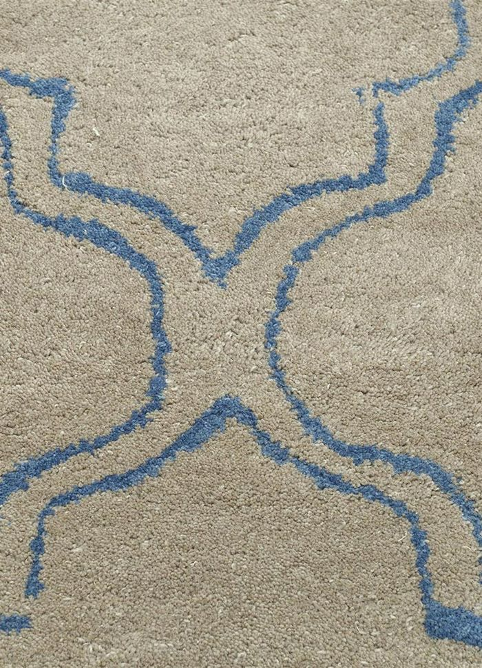 contour beige and brown wool hand tufted Rug - CloseUp