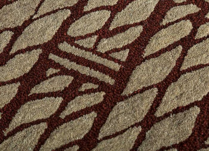 decade beige and brown wool hand tufted Rug - CloseUp
