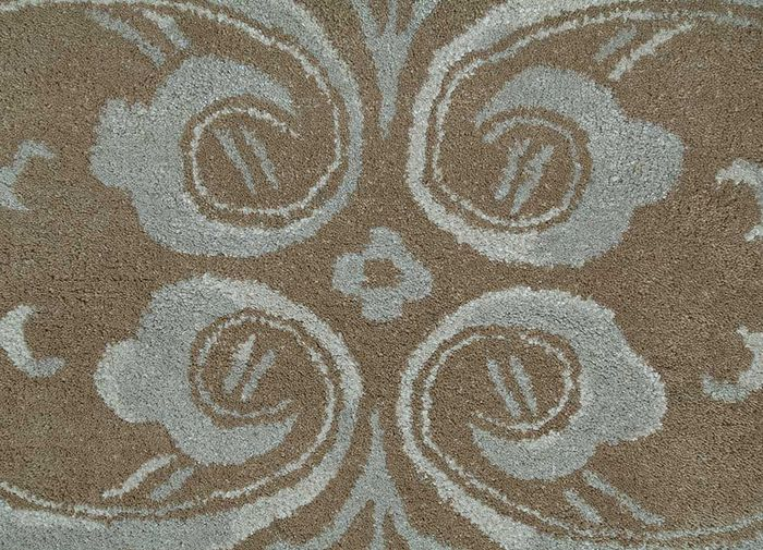 inspired by jennifer adams beige and brown wool and viscose hand tufted Rug - CloseUp