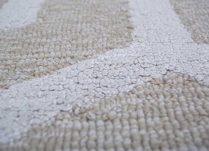 contour ivory wool and viscose hand tufted Rug - CloseUp