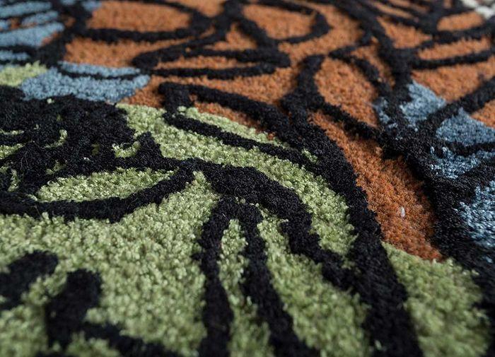 coastal red and orange wool and viscose hand tufted Rug - CloseUp