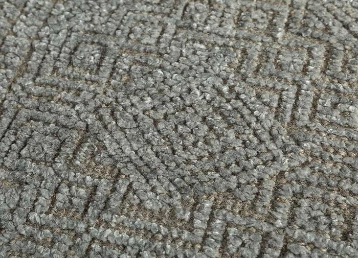 revolution blue wool and bamboo silk hand knotted Rug - CloseUp