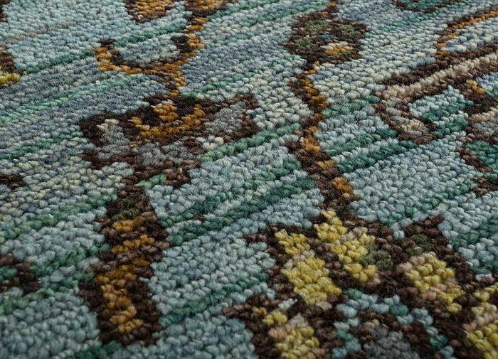viscaya blue wool hand knotted Rug - CloseUp