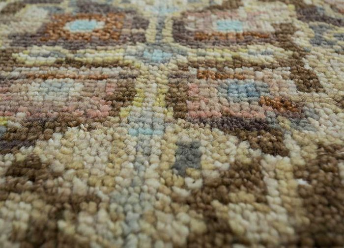 floret beige and brown wool hand knotted Rug - CloseUp