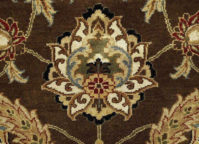 atlantis beige and brown wool hand knotted Rug - CloseUp