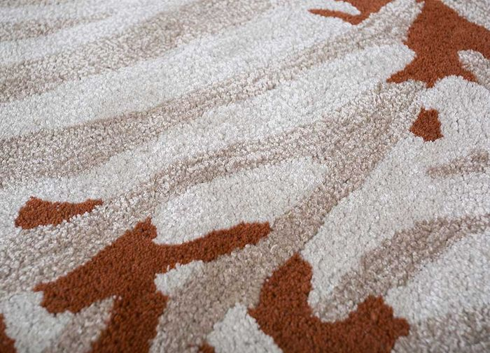 coastal beige and brown wool and viscose hand tufted Rug - CloseUp