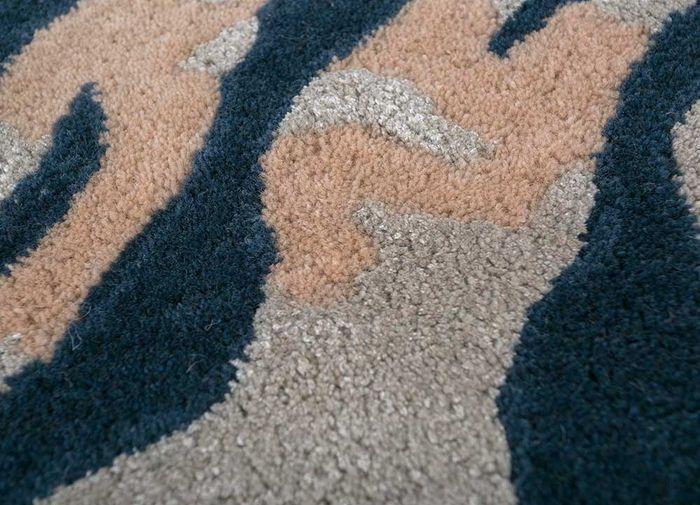 coastal blue wool and viscose hand tufted Rug - CloseUp