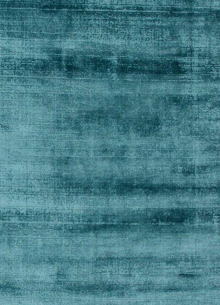 basis blue viscose hand loom Rug - CloseUp