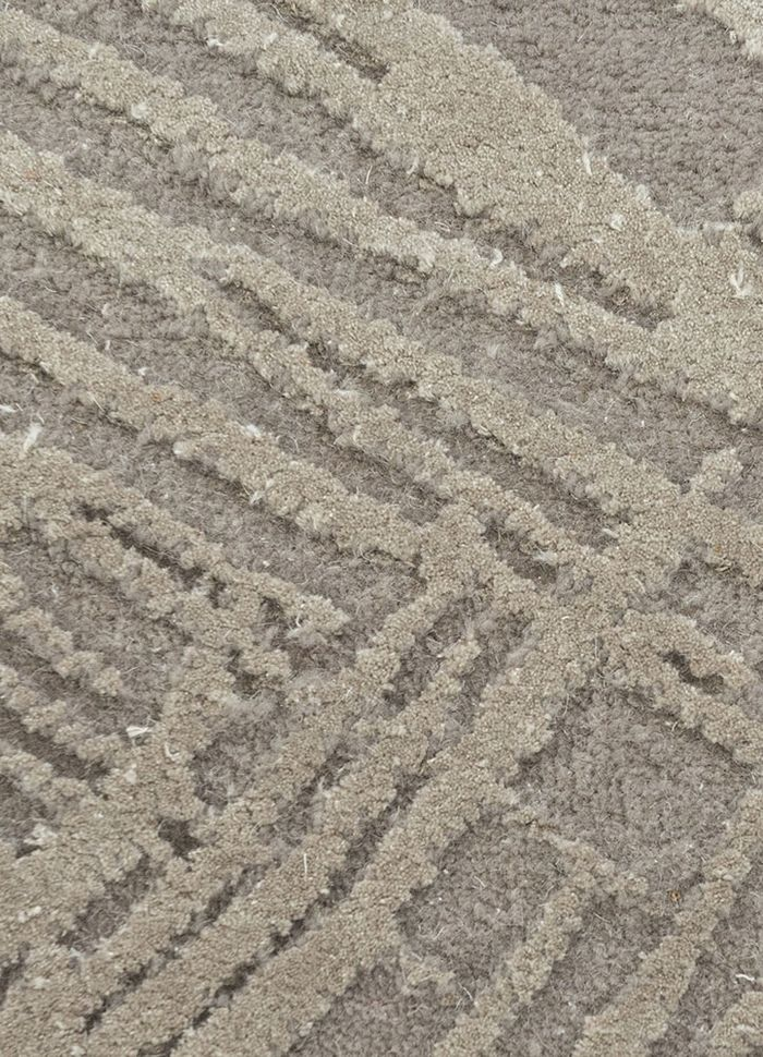 free verse by kavi grey and black wool and silk hand knotted Rug - CloseUp