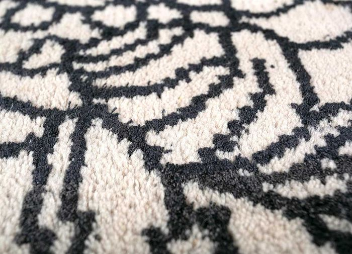 esme beige and brown wool and bamboo silk hand knotted Rug - CloseUp