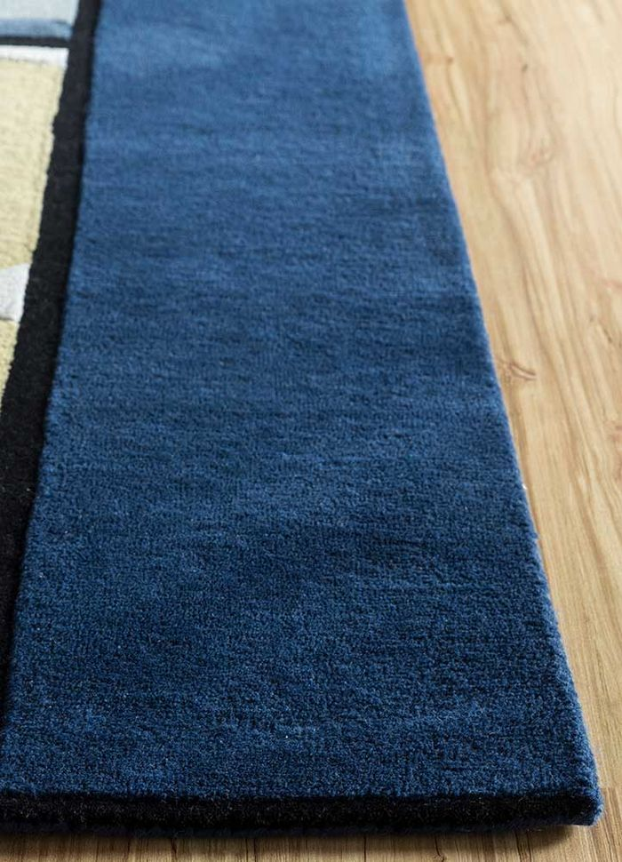 concoction blue wool and viscose hand tufted Rug - Corner