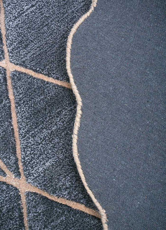 jaipur wunderkammer grey and black wool and viscose hand tufted Rug - Corner