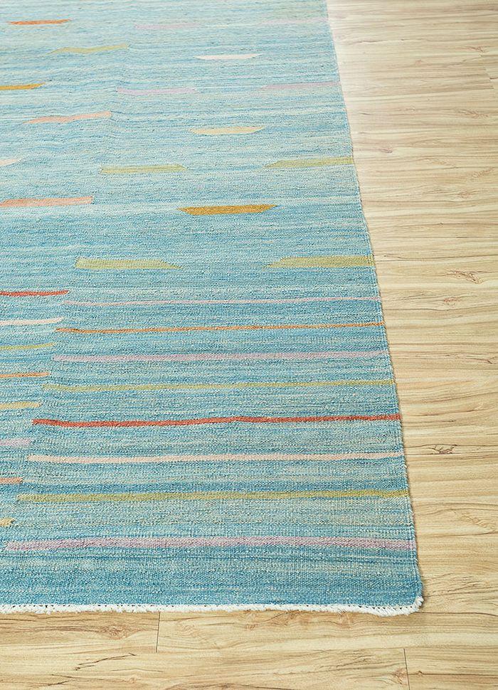 anatolia blue wool flat weaves Rug - Corner