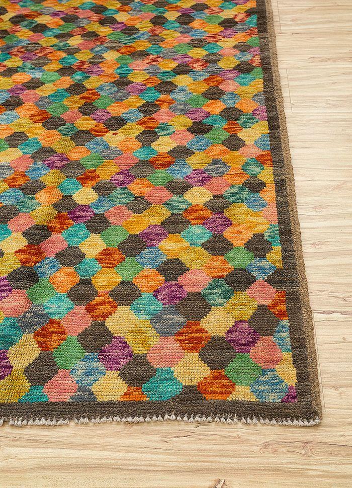 afghan mori beige and brown wool hand knotted Rug - Corner