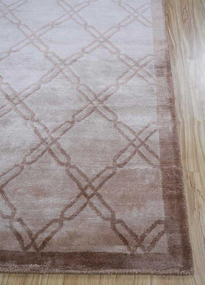 azalea beige and brown bamboo silk hand knotted Rug - Corner