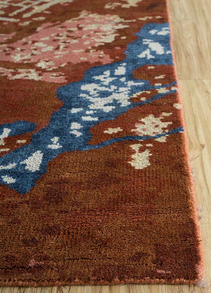 esme red and orange wool and bamboo silk hand knotted Rug - Corner